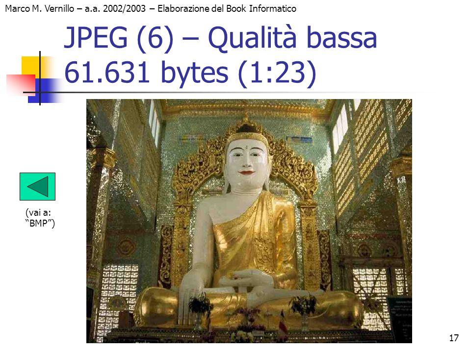 17 Marco M. Vernillo – a.a. 2002/2003 – Elaborazione del Book Informatico JPEG (6) – Qualità bassa 61.631 bytes (1:23) (vai a: BMP)