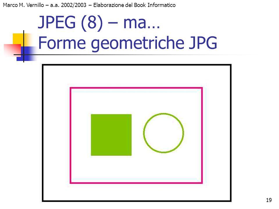 19 Marco M. Vernillo – a.a. 2002/2003 – Elaborazione del Book Informatico JPEG (8) – ma… Forme geometriche JPG