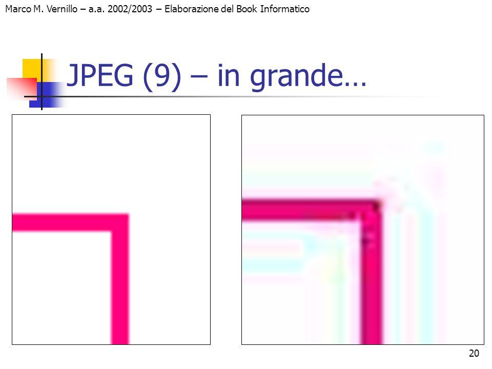20 Marco M. Vernillo – a.a. 2002/2003 – Elaborazione del Book Informatico JPEG (9) – in grande…