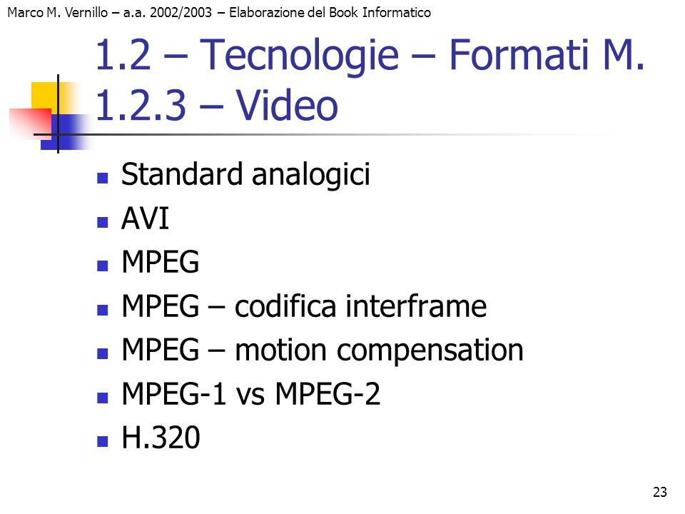 23 Marco M. Vernillo – a.a. 2002/2003 – Elaborazione del Book Informatico 1.2 – Tecnologie – Formati M. 1.2.3 – Video Standard analogici AVI MPEG MPEG