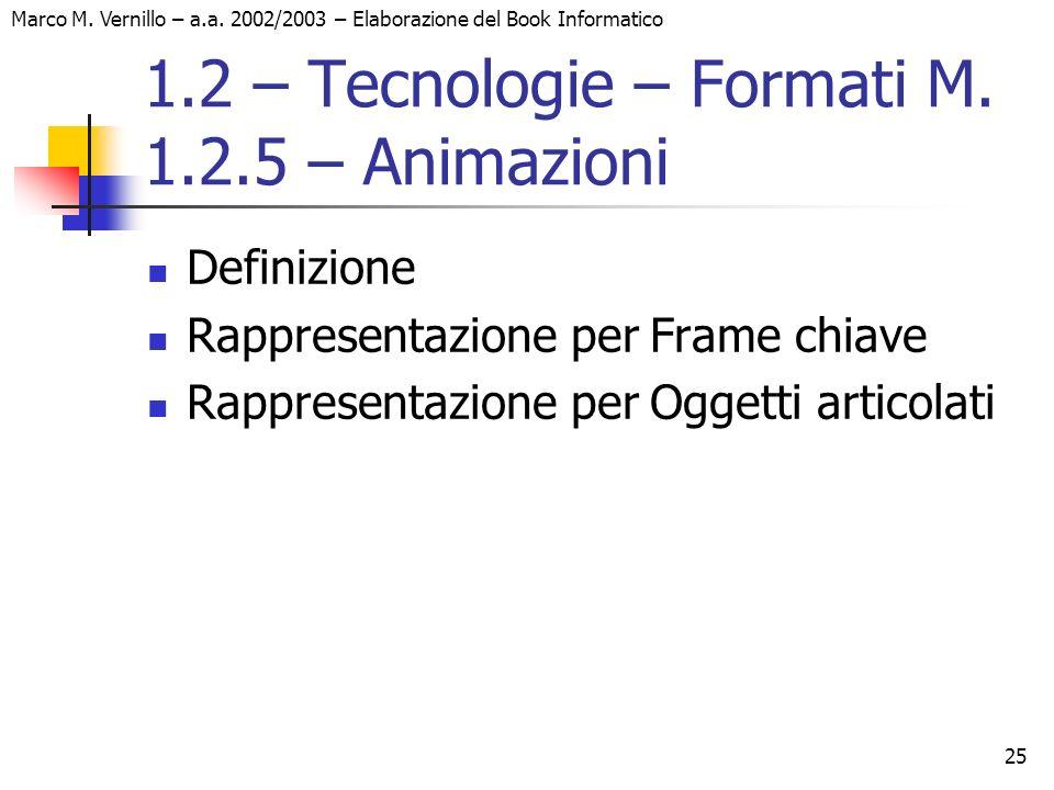 25 Marco M. Vernillo – a.a. 2002/2003 – Elaborazione del Book Informatico 1.2 – Tecnologie – Formati M. 1.2.5 – Animazioni Definizione Rappresentazion