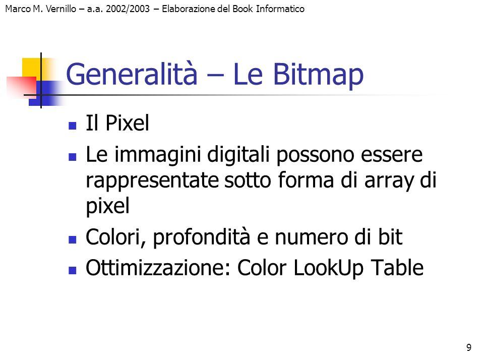 9 Marco M. Vernillo – a.a. 2002/2003 – Elaborazione del Book Informatico Generalità – Le Bitmap Il Pixel Le immagini digitali possono essere rappresen