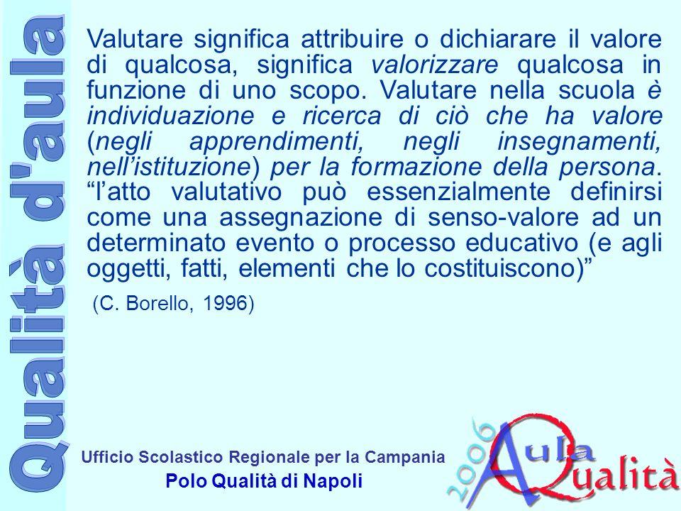 Ufficio Scolastico Regionale per la Campania Polo Qualità di Napoli Valutare significa attribuire o dichiarare il valore di qualcosa, significa valorizzare qualcosa in funzione di uno scopo.