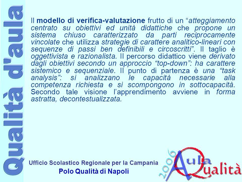 Ufficio Scolastico Regionale per la Campania Polo Qualità di Napoli Il modello di verifica-valutazione frutto di un atteggiamento centrato su progetto aperto propone un sistema aperto, disponibile ad accogliere limprevisto, a ristrutturarsi.