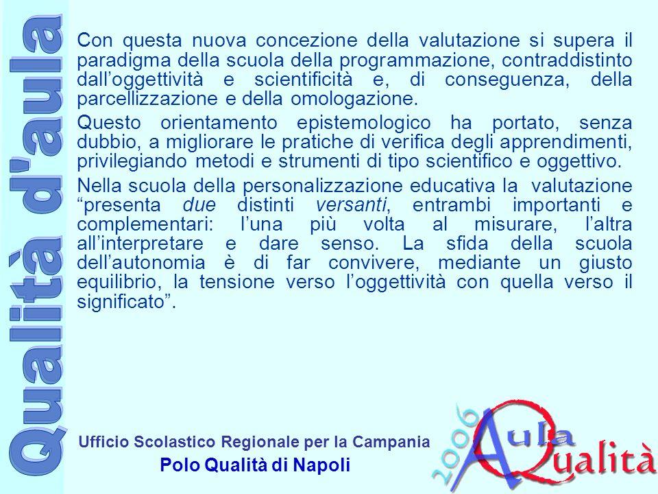Ufficio Scolastico Regionale per la Campania Polo Qualità di Napoli Con questa nuova concezione della valutazione si supera il paradigma della scuola della programmazione, contraddistinto dalloggettività e scientificità e, di conseguenza, della parcellizzazione e della omologazione.