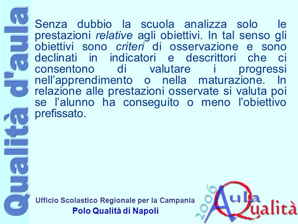Ufficio Scolastico Regionale per la Campania Polo Qualità di Napoli Per quanto si attiene alla scelte degli strumenti di verifica, come ben sappiamo, essi si dividono in prove soggettive ed oggettive.