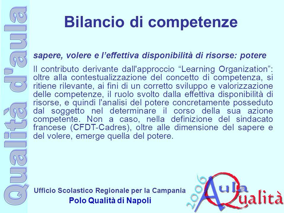 Ufficio Scolastico Regionale per la Campania Polo Qualità di Napoli sapere, volere e leffettiva disponibilità di risorse: potere Il contributo derivan