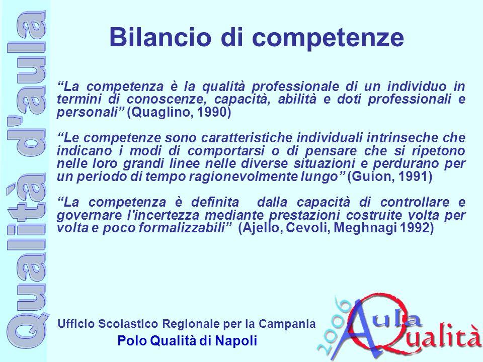 Ufficio Scolastico Regionale per la Campania Polo Qualità di Napoli La competenza è la qualità professionale di un individuo in termini di conoscenze,