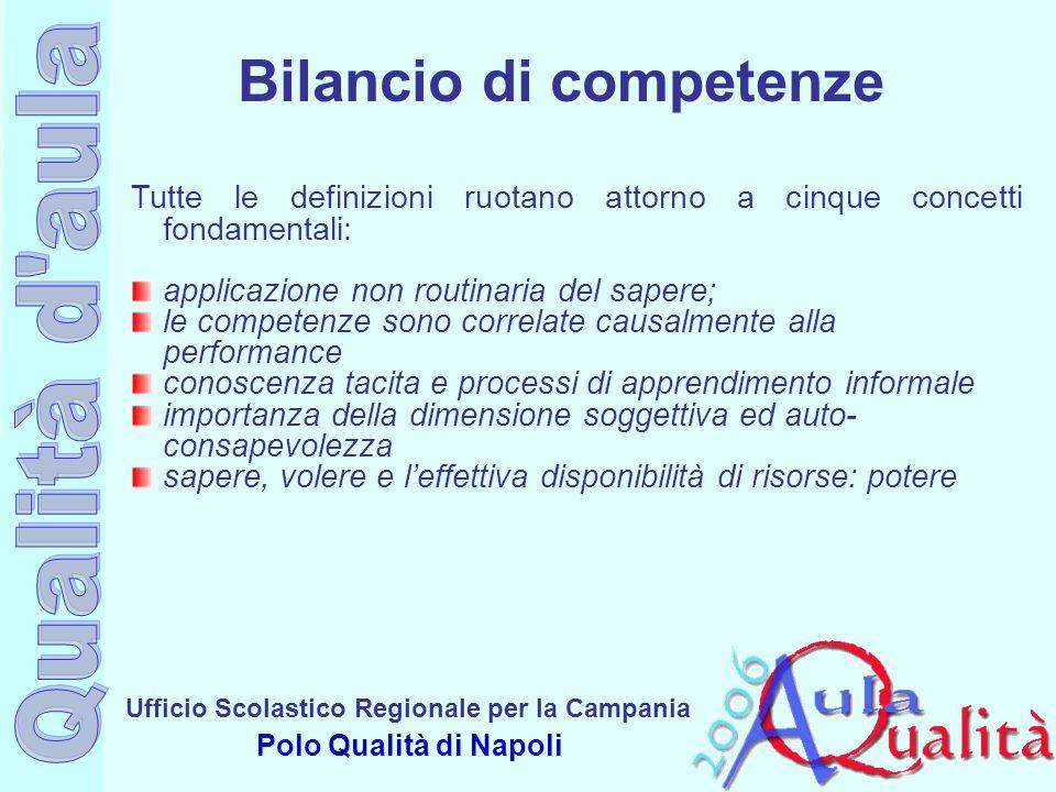 Ufficio Scolastico Regionale per la Campania Polo Qualità di Napoli Tutte le definizioni ruotano attorno a cinque concetti fondamentali: applicazione