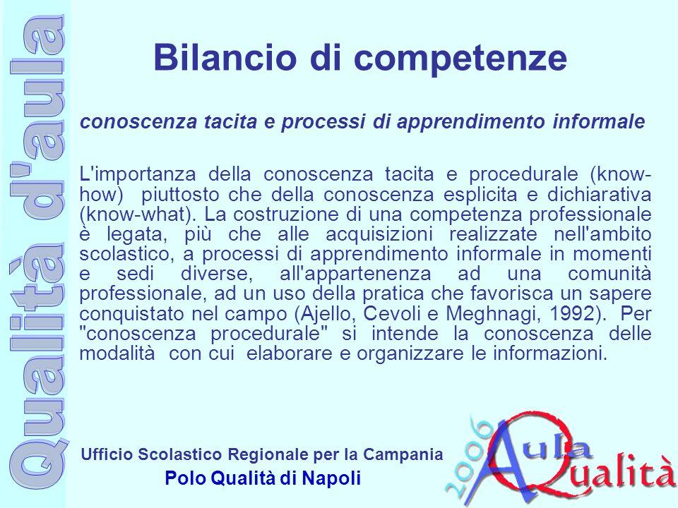 Ufficio Scolastico Regionale per la Campania Polo Qualità di Napoli conoscenza tacita e processi di apprendimento informale L'importanza della conosce