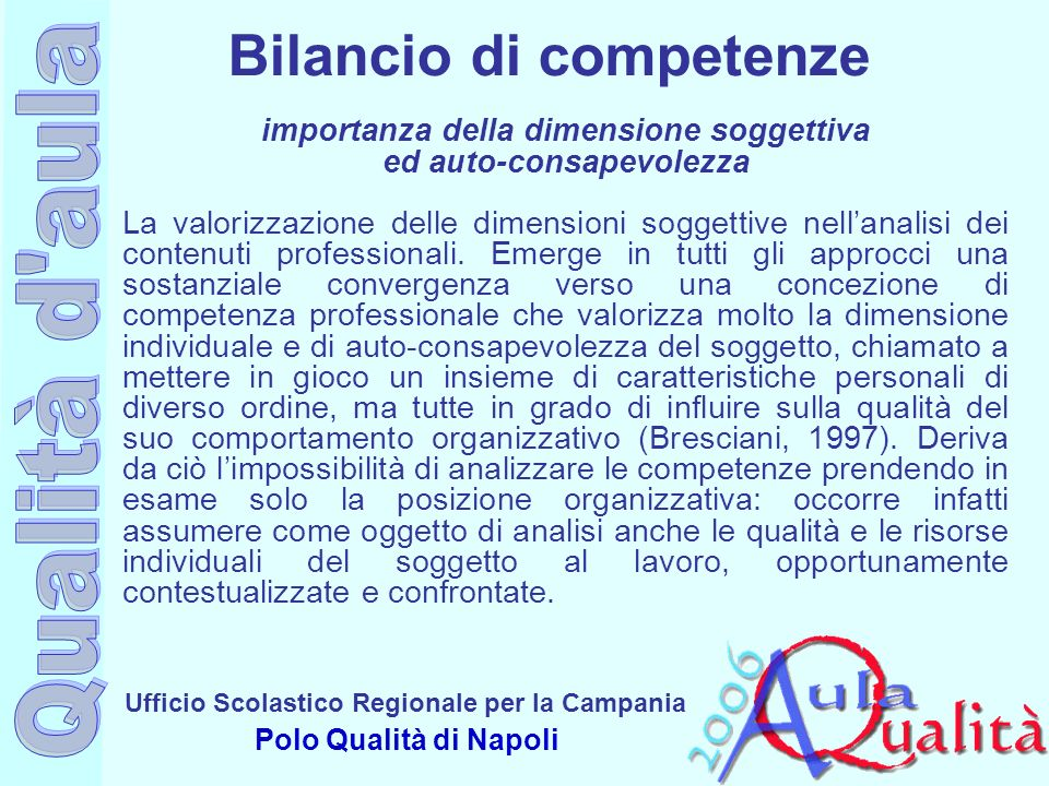 Ufficio Scolastico Regionale per la Campania Polo Qualità di Napoli importanza della dimensione soggettiva ed auto-consapevolezza La valorizzazione de