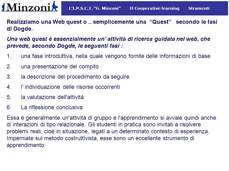 LI.P.S.C.T.G. Minzoni Il Cooperative learning Strumenti Realizziamo una Web quest o..