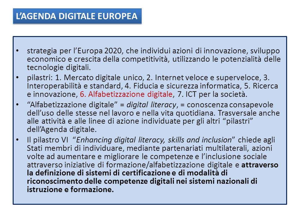 strategia per lEuropa 2020, che individui azioni di innovazione, sviluppo economico e crescita della competitività, utilizzando le potenzialità delle tecnologie digitali.