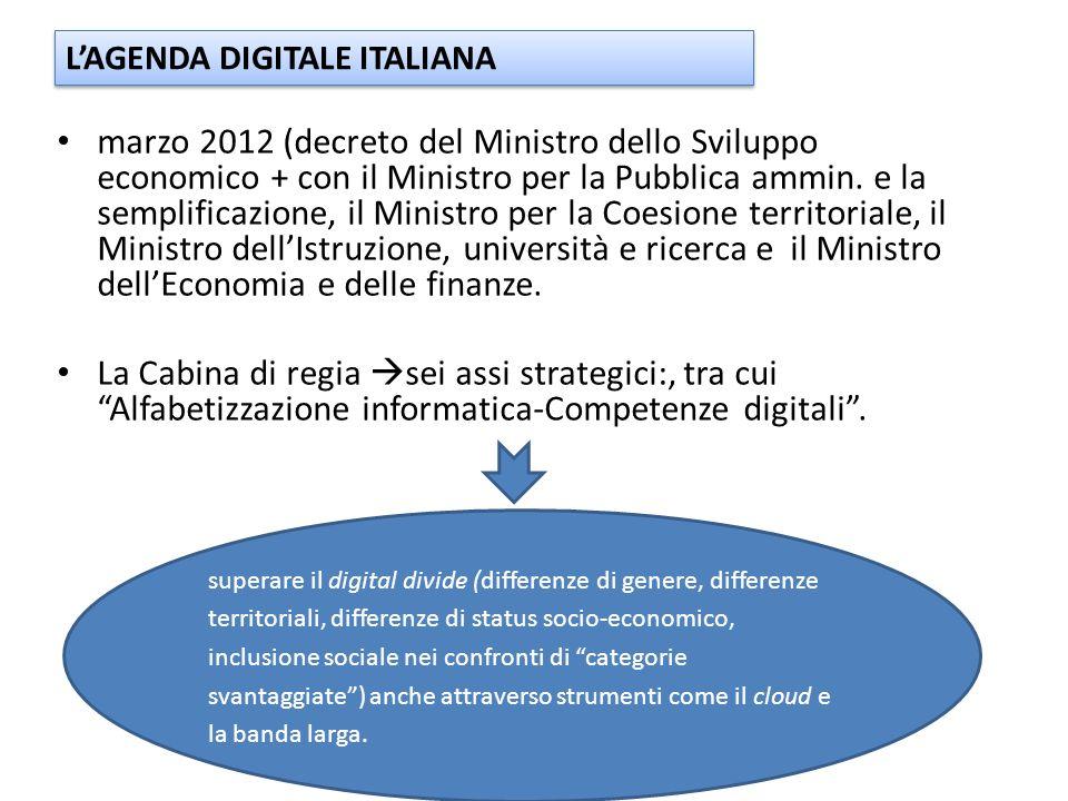marzo 2012 (decreto del Ministro dello Sviluppo economico + con il Ministro per la Pubblica ammin.