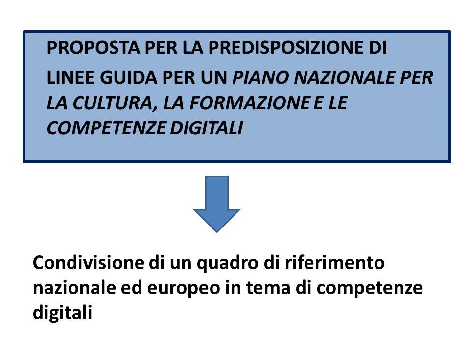 PROPOSTA PER LA PREDISPOSIZIONE DI LINEE GUIDA PER UN PIANO NAZIONALE PER LA CULTURA, LA FORMAZIONE E LE COMPETENZE DIGITALI Condivisione di un quadro di riferimento nazionale ed europeo in tema di competenze digitali