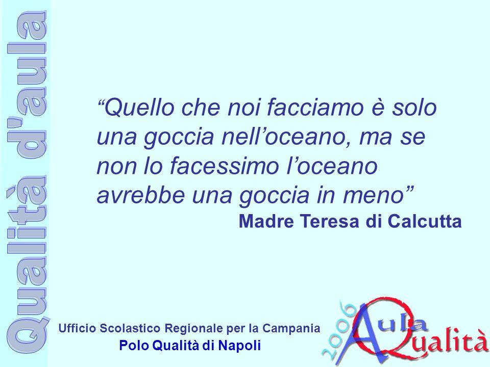 Ufficio Scolastico Regionale per la Campania Polo Qualità di Napoli Quello che noi facciamo è solo una goccia nelloceano, ma se non lo facessimo loceano avrebbe una goccia in meno Madre Teresa di Calcutta