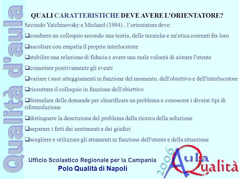 Ufficio Scolastico Regionale per la Campania Polo Qualità di Napoli QUALI CARATTERISTICHE DEVE AVERE LORIENTATORE? Secondo Yatchinovsky e Michard (199