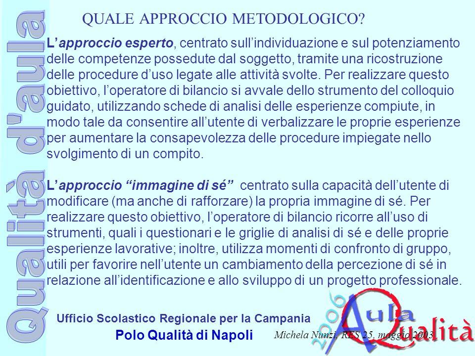 Ufficio Scolastico Regionale per la Campania Polo Qualità di Napoli Lapproccio esperto, centrato sullindividuazione e sul potenziamento delle competen