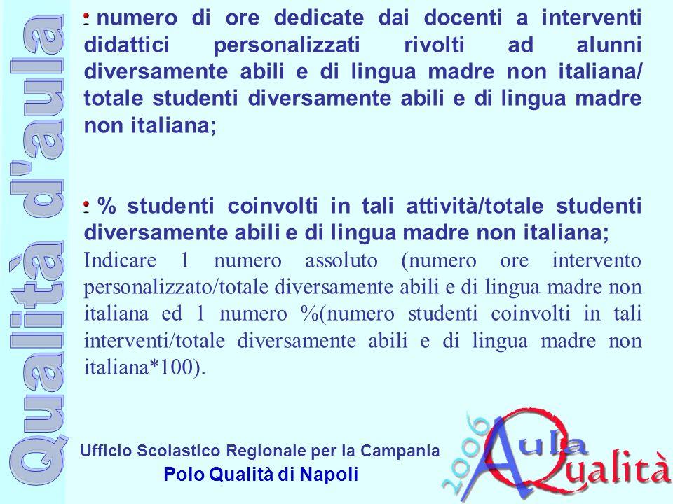 Ufficio Scolastico Regionale per la Campania Polo Qualità di Napoli numero di ore dedicate dai docenti a interventi didattici personalizzati rivolti a