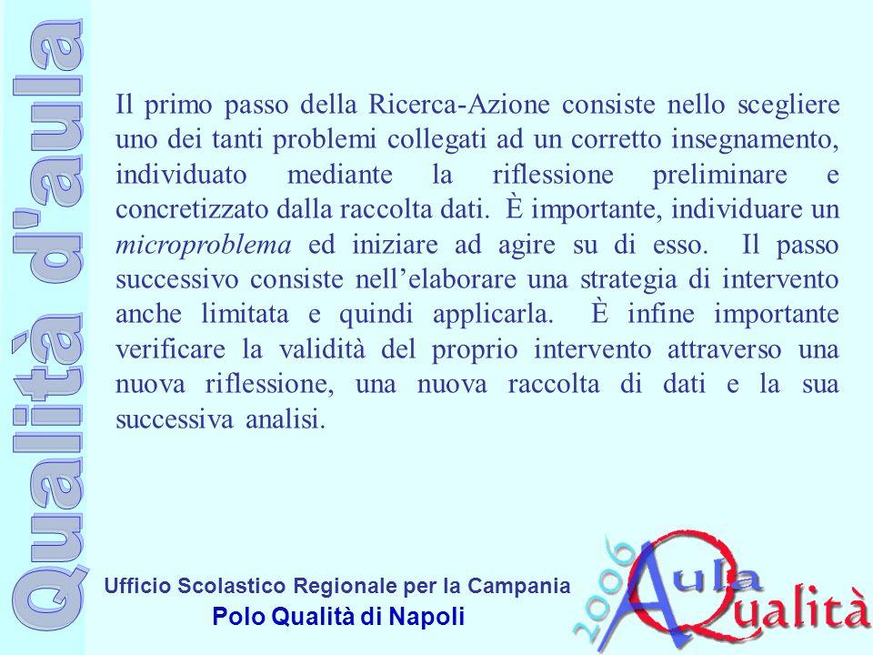 Ufficio Scolastico Regionale per la Campania Polo Qualità di Napoli Il primo passo della Ricerca-Azione consiste nello scegliere uno dei tanti problem