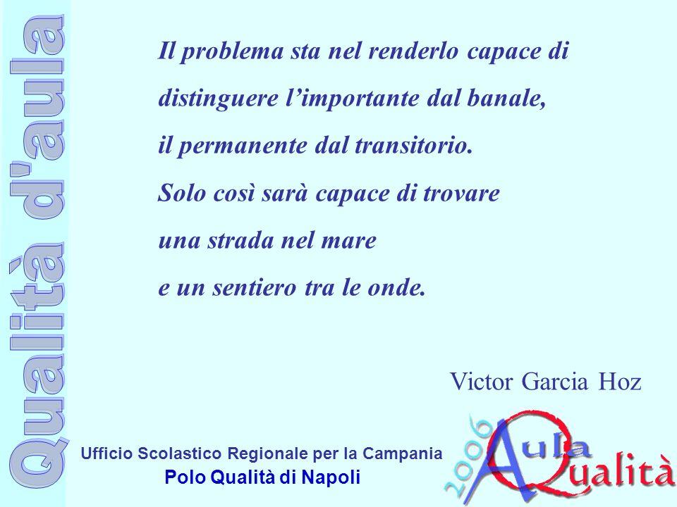 Ufficio Scolastico Regionale per la Campania Polo Qualità di Napoli Il problema sta nel renderlo capace di distinguere limportante dal banale, il permanente dal transitorio.