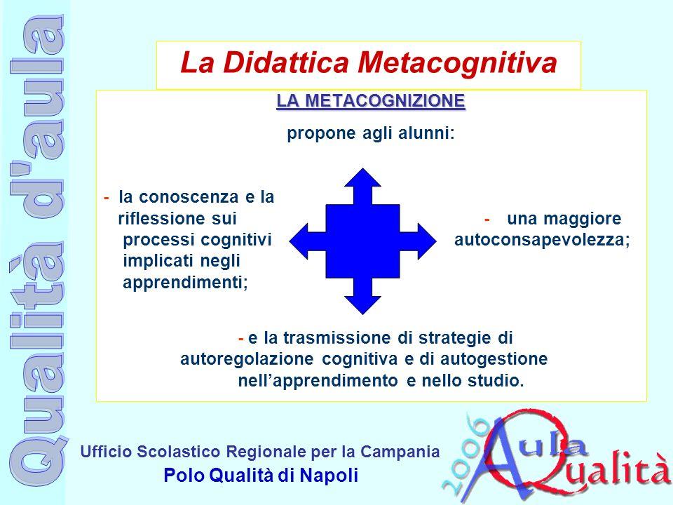 Ufficio Scolastico Regionale per la Campania Polo Qualità di Napoli La Didattica Metacognitiva LA METACOGNIZIONE propone agli alunni: - la conoscenza