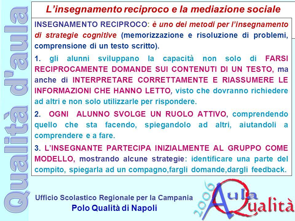 Ufficio Scolastico Regionale per la Campania Polo Qualità di Napoli Linsegnamento reciproco e la mediazione sociale INSEGNAMENTO RECIPROCO: è uno dei