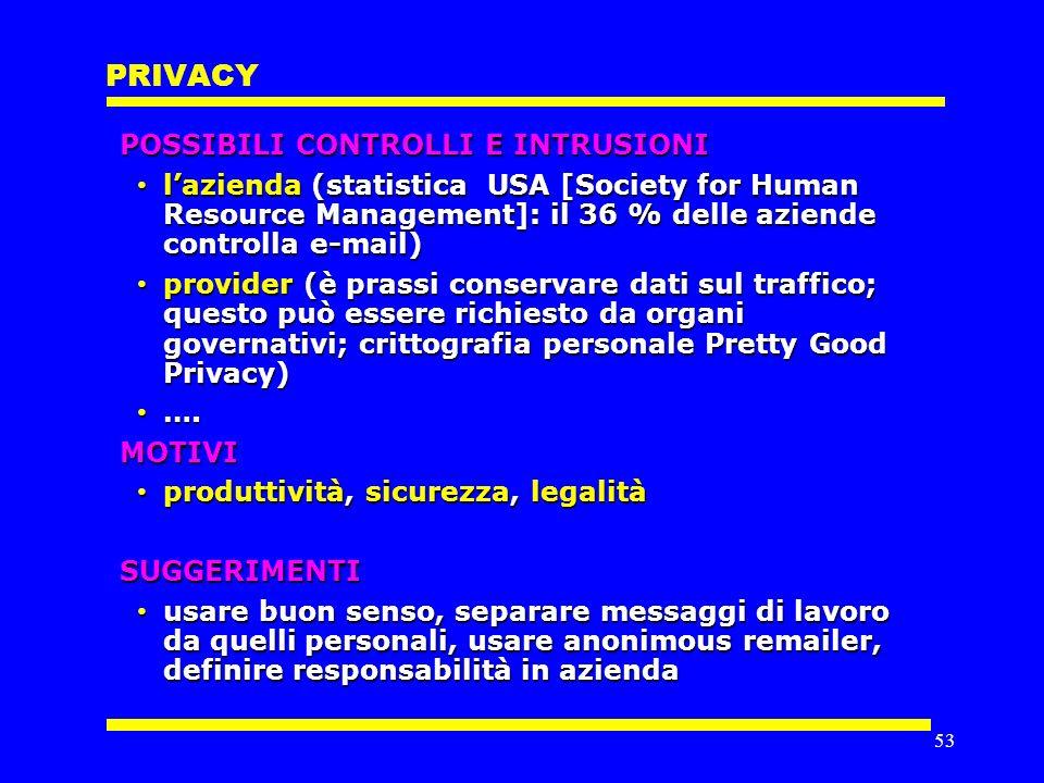 52 PROPRIETÀ INTELLETTUALE TRADEMARK DominioRegistrazione COPYRIGHT Contenuti (testi, immagini, ecc.) Software (non algoritmi) Elementi immateriali : Interfaccia utente ( ) Stile grafico ( ) Struttura ( ) BREVETTO nulla ( ) VIOLAZIONI DI SEGRETI valgono i principi delle politiche di sicurezza che rendono responsabile il detentore di informazioni