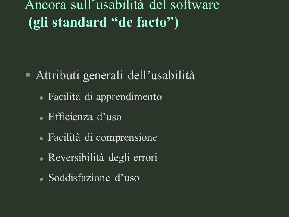 Ancora sullusabilità del software (gli standard de facto) §Attributi generali dellusabilità l Facilità di apprendimento l Efficienza duso l Facilità d