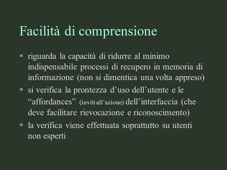 Facilità di comprensione §riguarda la capacità di ridurre al minimo indispensabile processi di recupero in memoria di informazione (non si dimentica u