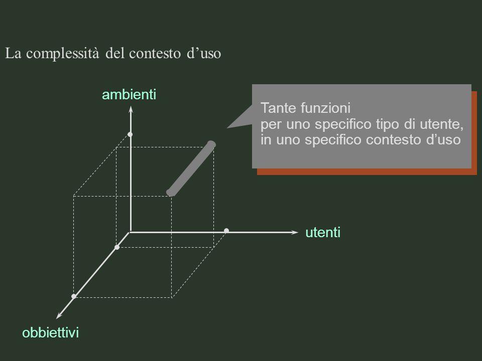 La complessità del contesto duso ambienti obbiettivi utenti Tante funzioni per uno specifico tipo di utente, in uno specifico contesto duso