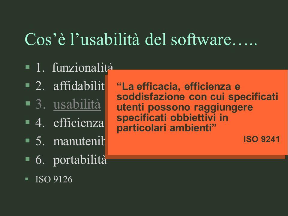 Cosè lusabilità del software….. §1. funzionalità §2.affidabilità §3.usabilità §4.efficienza §5.manutenibilità §6.portabilità §ISO 9126 La efficacia, e