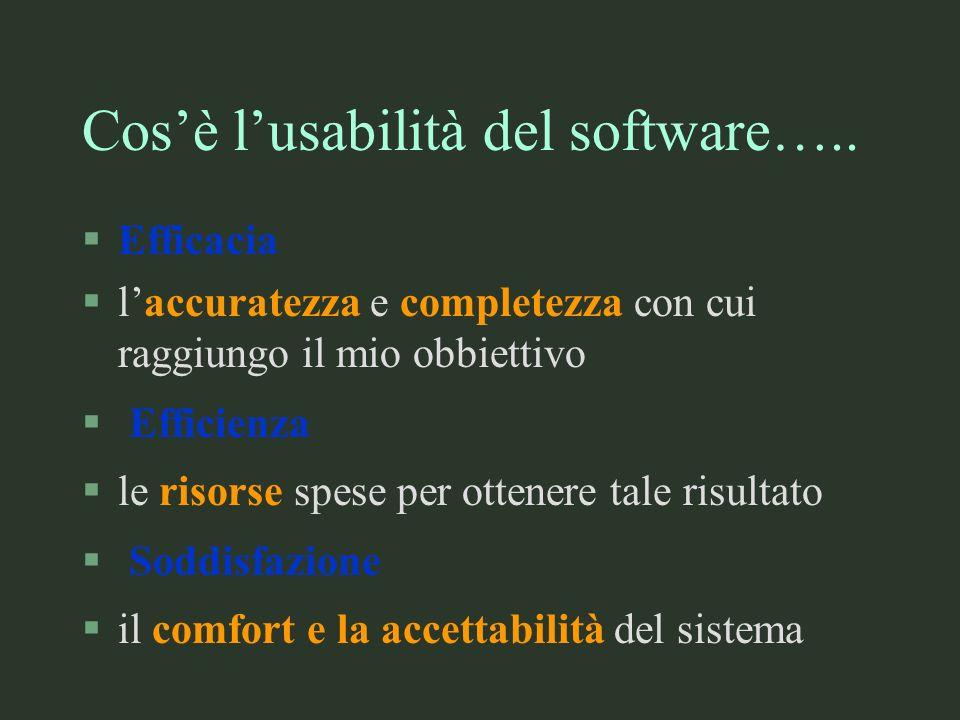 Cosè lusabilità del software….. §Efficacia §laccuratezza e completezza con cui raggiungo il mio obbiettivo § Efficienza §le risorse spese per ottenere
