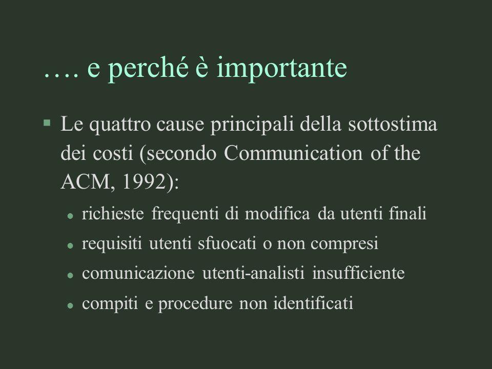 …. e perché è importante §Le quattro cause principali della sottostima dei costi (secondo Communication of the ACM, 1992): l richieste frequenti di mo