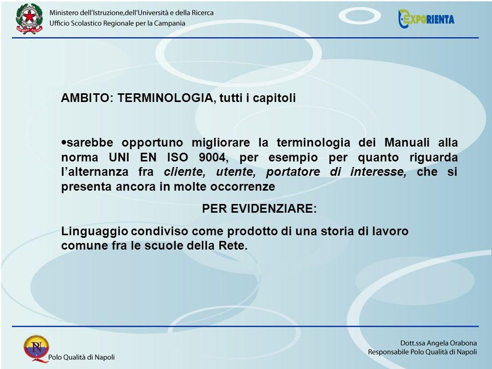 AMBITO: TERMINOLOGIA, tutti i capitoli sarebbe opportuno migliorare la terminologia dei Manuali alla norma UNI EN ISO 9004, per esempio per quanto rig