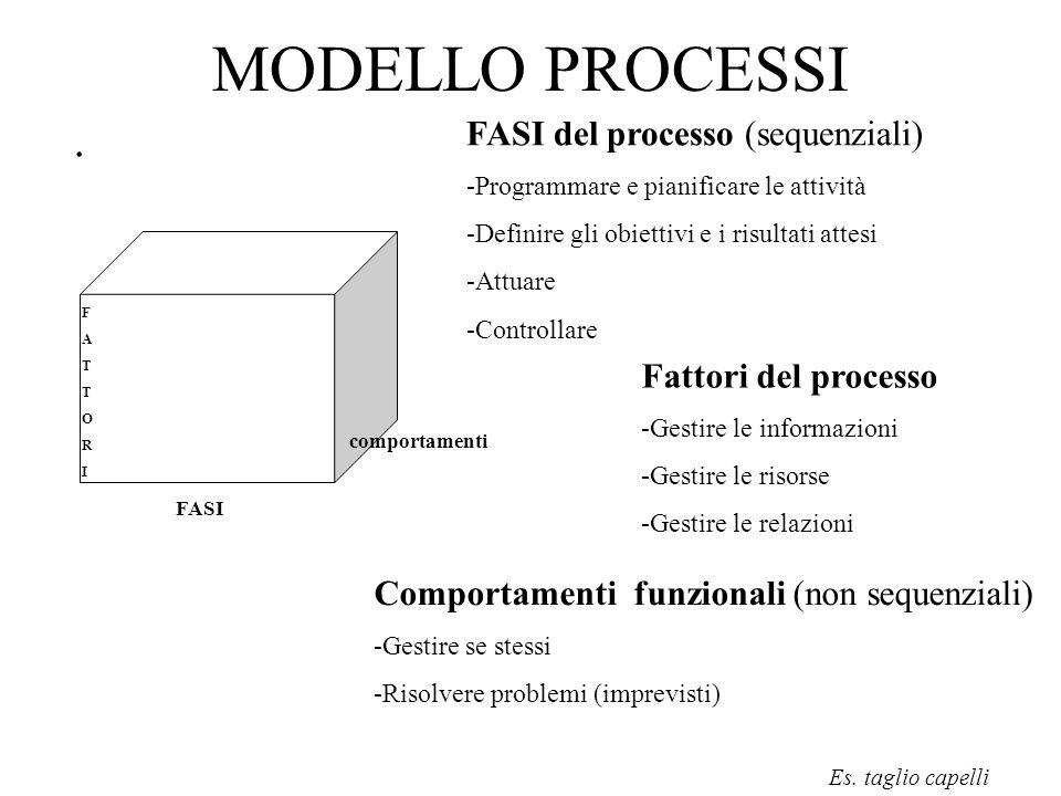 MODELLO PROCESSI. FASI comportamenti FATTORIFATTORI FASI del processo (sequenziali) -Programmare e pianificare le attività -Definire gli obiettivi e i