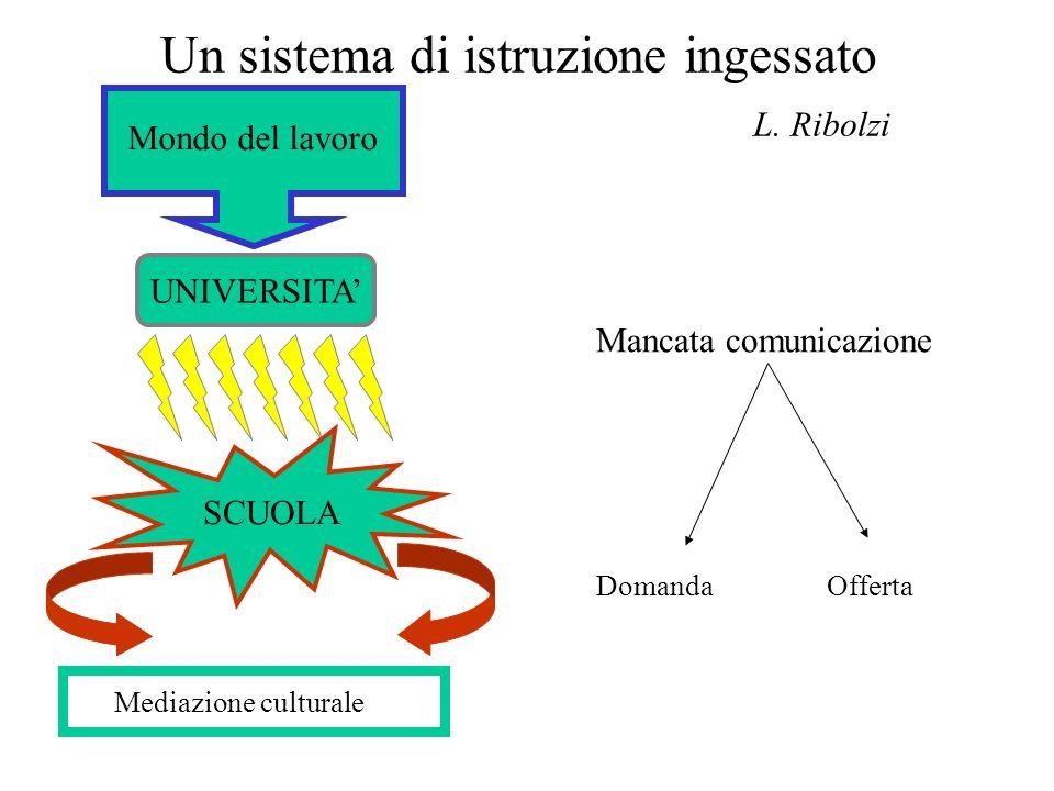 Un sistema di istruzione ingessato L. Ribolzi UNIVERSITA Mondo del lavoro SCUOLA Mediazione culturale Mancata comunicazione Domanda Offerta
