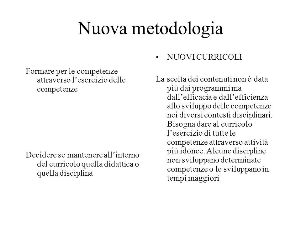 Nuova metodologia Formare per le competenze attraverso lesercizio delle competenze Decidere se mantenere allinterno del curricolo quella didattica o q
