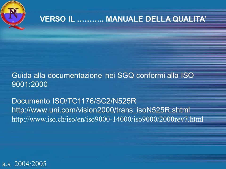TECNICHE DI REDAZIONE DEL MANUALE DELLA QUALITA Tipologia di indice del Manuale Note sulla struttura APPROCCIO STANDARD Secondo i principali requisiti della norma ISO 9001:2000 Le sezioni principali hanno lo stesso titolo dei requisiti della Norma ISO 9001:2000: 4.) Sistema di gestione per la qualità; 5.) Responsabilità della direzione 6.) Gestione delle risorse 7.) Realizzazione del prodotto 8.) Misurazioni,analisi e miglioramento APPROCCIO INNOVATIVO Secondo i processi centrali (primari,strategici) individuati Le sezioni hanno lo stesso titolo dei processi centrali (primari,strategici).