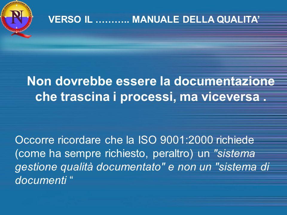 NORMA ISO 9004:2000 Paragrafo 4.2 : Documentazione La Norma 9004:2000 è una struttura aperta, il cui obiettivo principale è il miglioramento delle prestazioni.individua solo le caratteristiche di una documentazione, ma non fornisce prescrizioni.Non vi sono riferimenti a procedure documentate né a manuale della qualità.