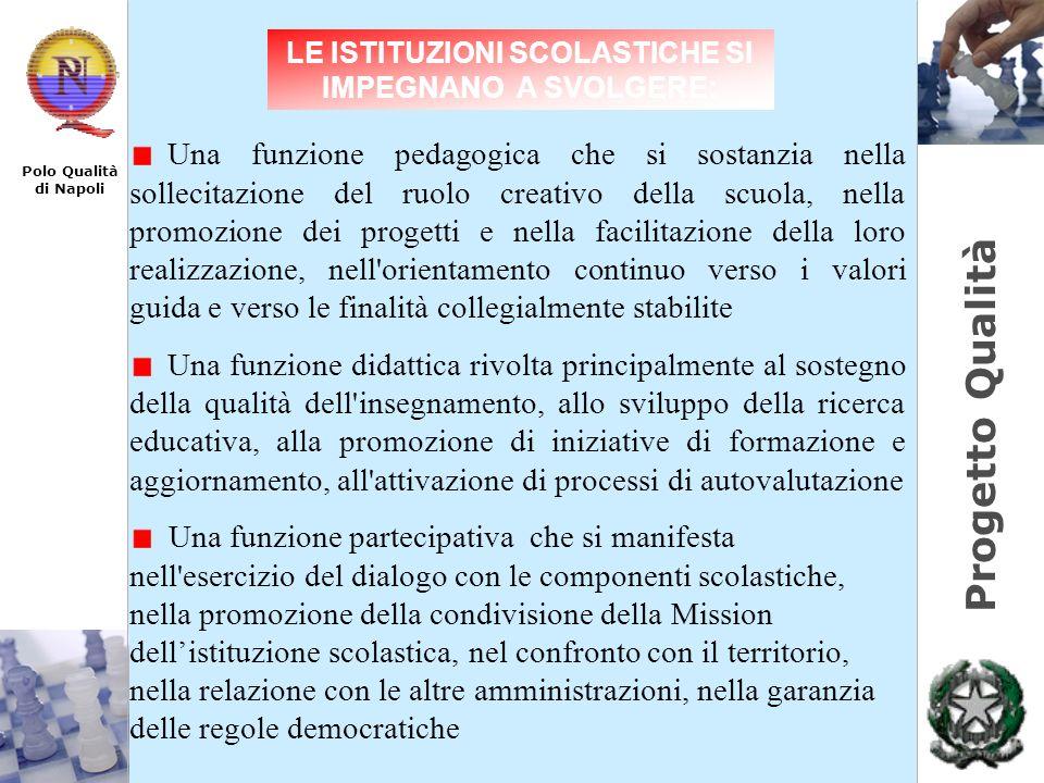 Progetto Qualità Polo Qualità di Napoli Una funzione pedagogica che si sostanzia nella sollecitazione del ruolo creativo della scuola, nella promozion