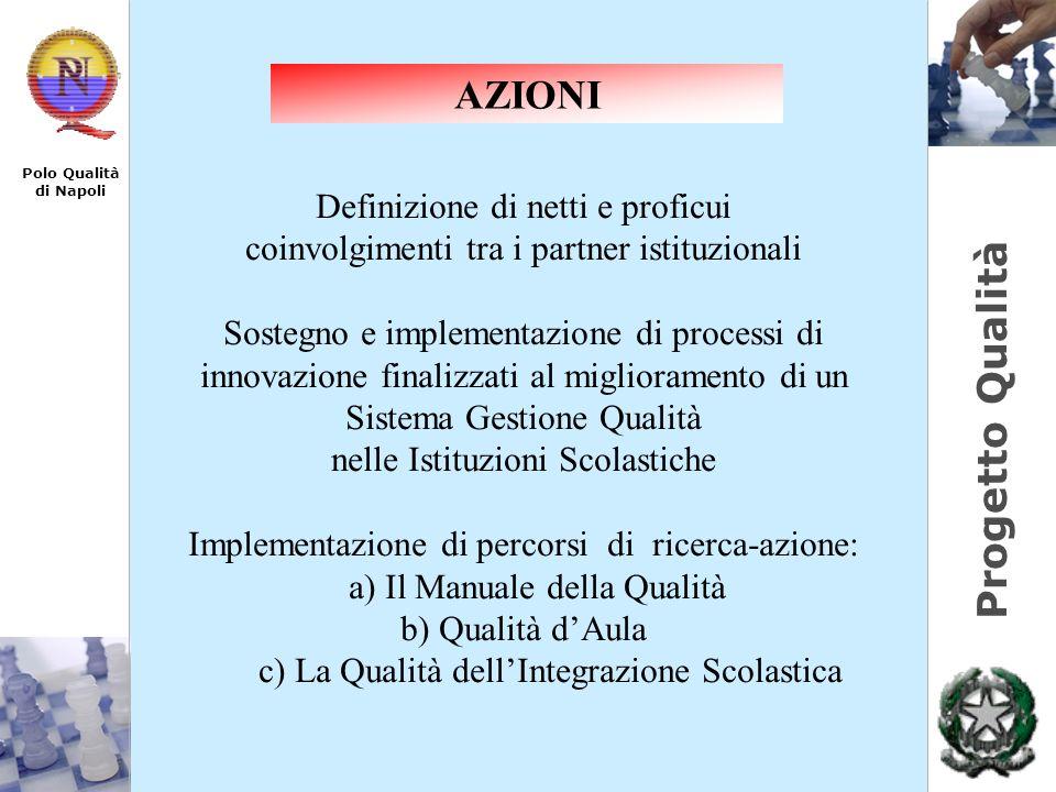 Progetto Qualità Polo Qualità di Napoli Definizione di netti e proficui coinvolgimenti tra i partner istituzionali Sostegno e implementazione di proce