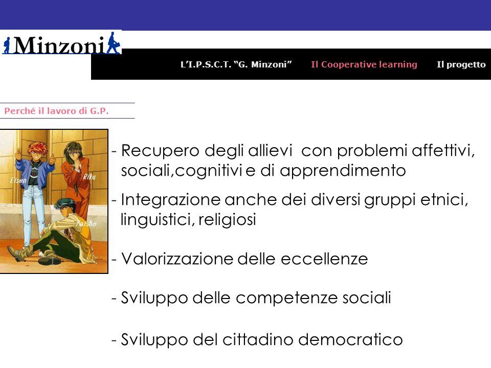 LI.P.S.C.T. G. Minzoni Il Cooperative learning Il progetto Perché il lavoro di G.P. -Recupero degli allievi con problemi affettivi, sociali,cognitivi