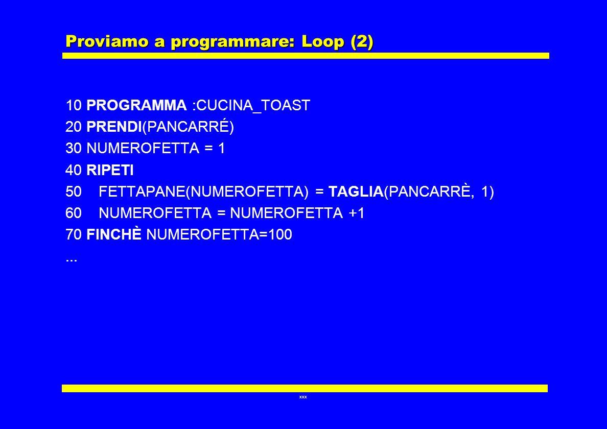 xxx Proviamo a programmare: Loop (2) 10 PROGRAMMA :CUCINA_TOAST 20 PRENDI(PANCARRÉ) 30 NUMEROFETTA = 1 40 RIPETI 50 FETTAPANE(NUMEROFETTA) = TAGLIA(PA