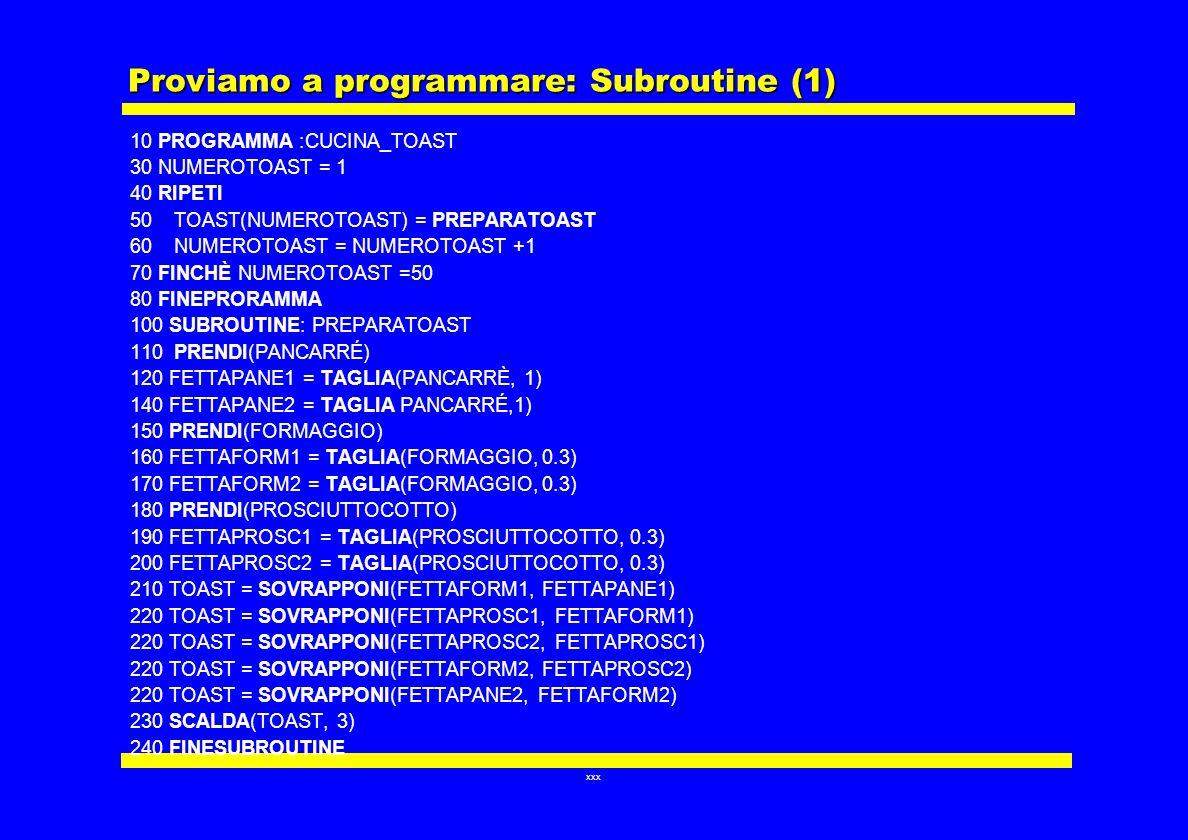 xxx Proviamo a programmare: Subroutine (1) 10 PROGRAMMA :CUCINA_TOAST 30 NUMEROTOAST = 1 40 RIPETI 50 TOAST(NUMEROTOAST) = PREPARATOAST 60 NUMEROTOAST