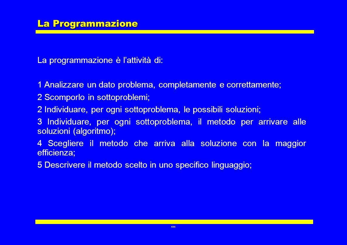 xxx La Programmazione La programmazione è lattività di: 1 Analizzare un dato problema, completamente e correttamente; 2 Scomporlo in sottoproblemi; 2