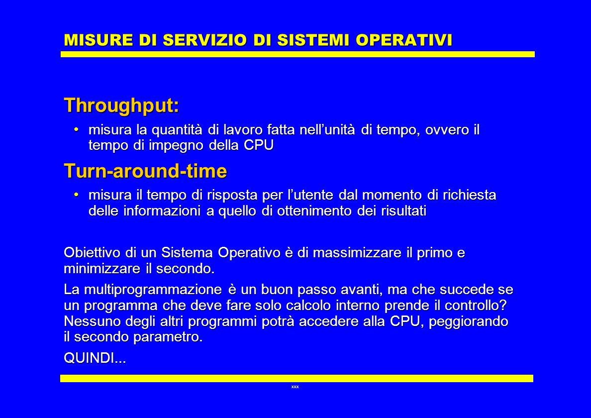 xxx MISURE DI SERVIZIO DI SISTEMI OPERATIVI Throughput: misura la quantità di lavoro fatta nellunità di tempo, ovvero il tempo di impegno della CPUmis