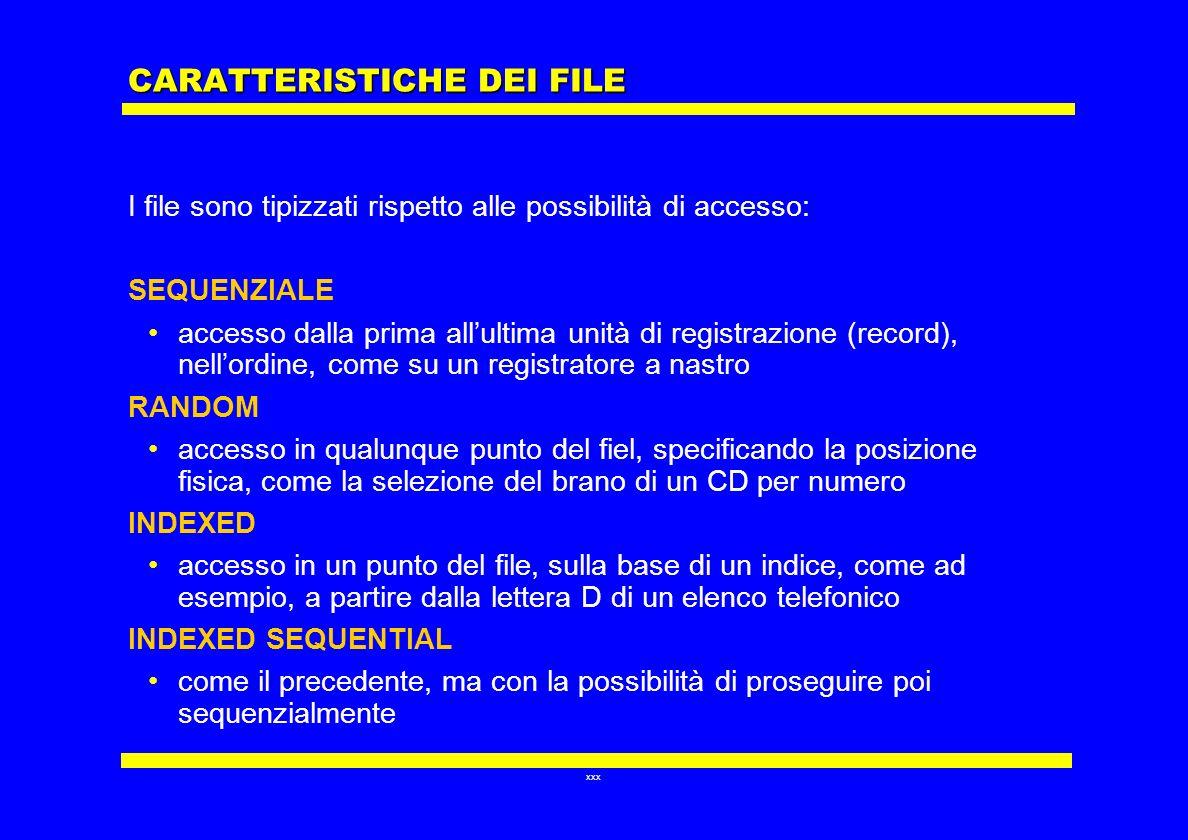 xxx CARATTERISTICHE DEI FILE I file sono tipizzati rispetto alle possibilità di accesso: SEQUENZIALE accesso dalla prima allultima unità di registrazi