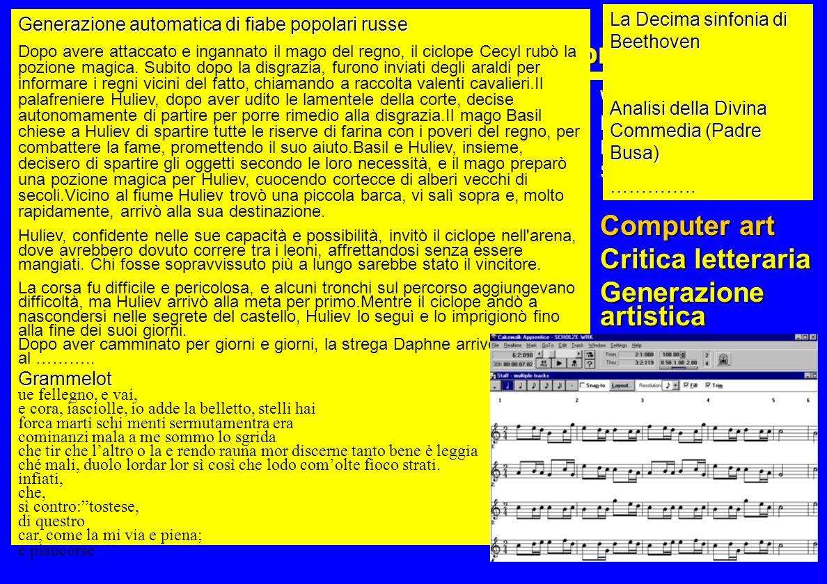 xxx UN ELENCO NON ESAUSTIVO E NON ORDINATO Commercio elettronico B2B Commercio elettronico B2C Grafica 2D Grafica 3D Calcolo strutturale Calcolo scien