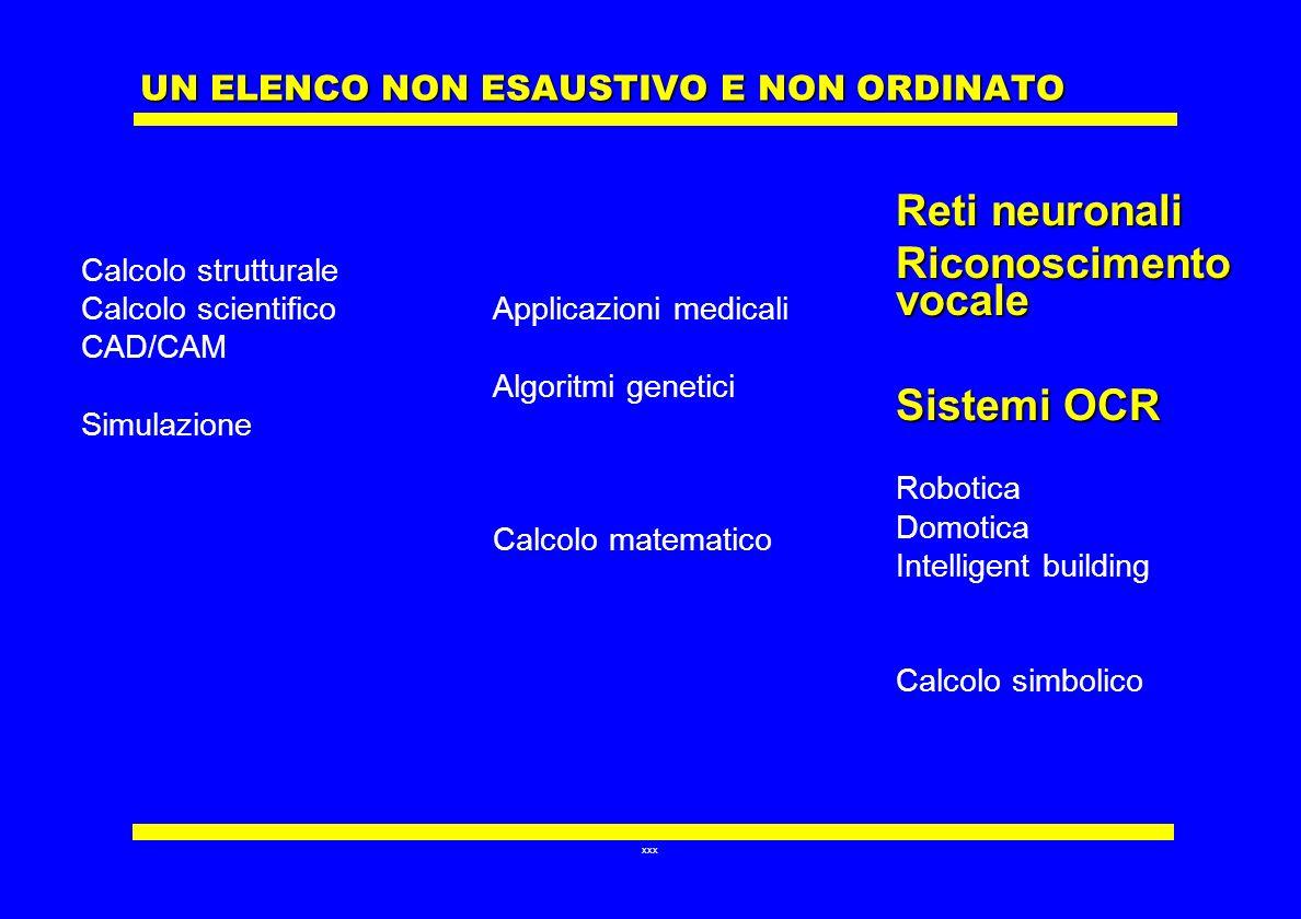 xxx UN ELENCO NON ESAUSTIVO E NON ORDINATO Calcolo strutturale Calcolo scientifico CAD/CAM Simulazione Applicazioni medicali Algoritmi genetici Calcol